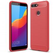 Cepillado Textura Fibra De Carbono Resistente TPU Para Huawei Honor 7a / Y6 (2018) (rojo)