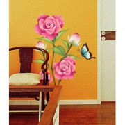 Vinyl Flower Valentine Day Lovely Roses In Pink With Buds Butterfly Wall Sticker