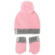 Комплект шапка и ръкавици UGG - K Infant Knit Hat And Mitt Set 18802 Seashell Pink