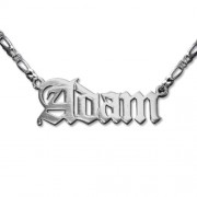 Personalized Men's Jewelry Double Thickness Old English Style Name Necklace 101-01-078-04