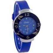 Glory Circular Dial Blue Strap Design Glass Dial Watch For Women