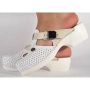 Saboti/Papuci alb cu bej din piele naturala dama/dame/femei (cod PU-158)
