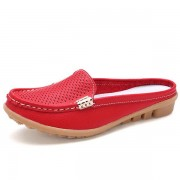 US Size 5-10 New Women Casual Fashion Breathable Round Toe Slip-On Leather Flat Sandals Shoes