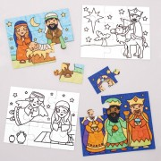 Baker Ross Nativity Colour-in Jigsaw Puzzles (Pack of 8)