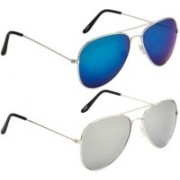 Marc Jones Aviator Sunglasses(Blue, Silver)