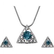 Mahi with Crystal Elements Light Blue Triangle Beauty Rhodium Plated Pendant Set for Women NL1104143RLBlu