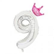 Toyvian Number Foil Balloons Party Crown Balloons 32 Pulgadas Silver Helium Balloons para Suministros para Fiestas Decoración de Aniversario de cumpleaños (Número 9 + Corona Rosa) 2pcs