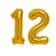 De-Ultimate Solid Golden Color 2 Digit Number (12) 3d Foil Balloon for Birthday Celebration Anniversary Parties