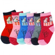 Neska Moda Cotton Ankle Length Multicolor Kids 6 Pair Socks For 3 To 7 Years SK419