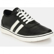 Men's Black & White Lace-up Sneakers