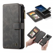 CASEME 007 Series Detachable 2-in-1 Zipper Wallet Split Leather Cell Phone Case for Samsung Galaxy Note 9 - Black