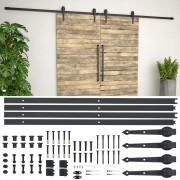 vidaXL Комплект механизъм за плъзгаща врата, 2х183 см, стомана, черен