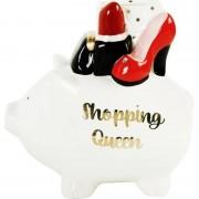 Merkloos Witte spaarpot/spaarvarken shopping queen 17 cm