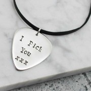Hilary & June Personalised Sterling Silver Guitar Pick Pendant Necklace