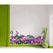 Vinyl Floral Border Design Purple Flowers Vine Fence With Green Leaves Wall Sticker