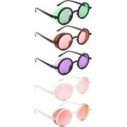 NuVew Round, Shield Sunglasses(Green, Orange, Violet, Pink, Red, Golden)