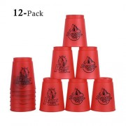 CHICTRY 12Pcs Speed Stacks Cups Transparent Plastic Rapid Cups Sports Stacking Toys Speed Training Improve Hand-eye Coordination and Quickness Red One Size