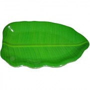 Hua You 14 inch Banana Leaf Shape South Indian Dinner Lunch Serving Melamine Platter Plate Tray For All Occasions - 1 Pc