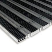 Gumová hliníková čistící venkovní vstupní kartáčová rohož Alu Low Extra - 100 x 100 x 1 cm (80001003) FLOMAT