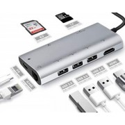 FAST ASIA Adapter-konvertor TIP C na HDMI+3xUSB3.0+SDMICRO SD+RJ45+TIP C