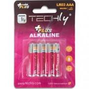Techly Blister 4 Batterie Power Plus Mini Stilo AAA Alcaline LR03 1.5V