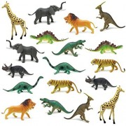 "BOLEY (18-Pack) JUMBO COMBO 12"" Dinosaur Toy Set and Safari Animals Toy Set - Zoo Animals and Jungle Animal Toy Set - Great as Dinosaur Party Supplies, Birthday Party Favors, and More!"