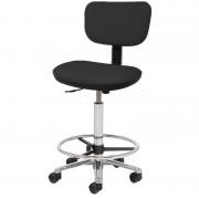 Taburete Kinefis Tipo Cadeira Elite com Respaldo Estofado em Skay, Elevação a Gás, Altura Alto com Reposapiés (Cores Disponíveis)
