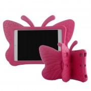 Capa 3D Shockproof para Crianças para iPad Mini 2, iPad Mini 3 - Borboleta - Cor-de-Rosa Forte