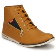 NYN Men's Beige Synthetic Casual Boots