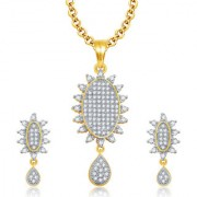 Sukkhi Memorable Gold And Rhodium Plated CZ Pendant Set For Women