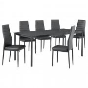[en.casa]® Set de mesa de comedor diseño [180cm x 80cm x 75cm] - 6 x sillas - gris oscuro