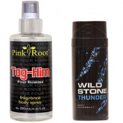 Wild Stone Thunder Body Deodorant 150ml and Pink Root Tag-Him Pour Homme Fragrance body Spray 200ml Pack of 2