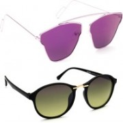 TheWhoop Round Sunglasses(Violet, Green)
