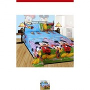 cho blue micky mouse double bedsheet with 2 pillows