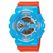 casio g-shock GA-110NC-2A 90's neo pop colors x-large reloj ana-digital para hombre - naranja + azul