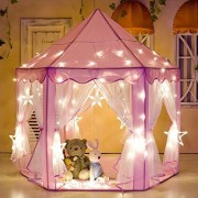 "Porpora Kids Indoor/Outdoor Princess Castle Play Tent Fairy Princess Portable Fun Perfect Hexagon Large Playhouse Toys for Girls,Boys,Childrens Gift/Present Extra Large Room 55""x 53""(DxH) Pink LED"