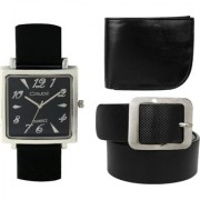 Crude Combo of Analog Black Dial Watch-rg725 With Black Leather Belt Wallet