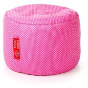 Style Homez Round Cotton Canvas Polka Dots Printed Bean Bag Ottoman Stool Large with Beans Pink Color