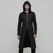 Punk Rave Embroidred Zipper Hooded Long Coat Black WY-876ZCM