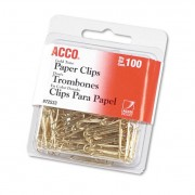"""Paper Clips, Metal Wire, #2, 1 1/8"""", Gold Tone, 100/box"""