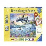 Пъзел Ravensburger 100 ел. - Делфини, с книжка за оцветяване, 7013697