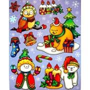 Karácsonykor, színes, csillámos ablakmatrica