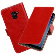 BestCases - Samsung Galaxy A8 Plus 2018 Pull-Up booktype hoesje rood