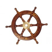 "Handcrafted Model Ships Deluxe Class Wood and Brass Decorative Ship Wheel 12"" - Nautical Home Decora"