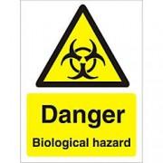 Unbranded Warning Sign Biological Vinyl 20 x 15 cm