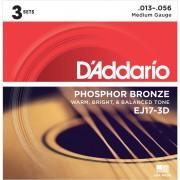 D'Addario Cuerdas para guitarra acústica EJ17-3D 13-56 Fósforo bronce Set de 3