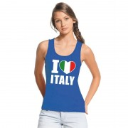 Bellatio Decorations Blauw I love Italie fan singlet shirt/ tanktop dames