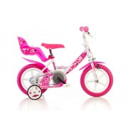 Detský bicykel Dino 124GLN biela + ružová potlač 12 2015