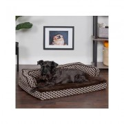 FurHaven Comfy Couch Cooling Gel Cat & Dog Bed w/Removable Cover, Diamond Brown, Medium