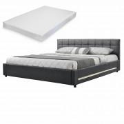 [my.bed] Elegantná manželská posteľ s LED osvetlením - matrac zo studenej HR peny - prešívaná - 140x200cm (Záhlavie: alcantara koženka sivá / Rám: alcantara koženka tmavo sivá) - s roštom